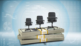 Stack of money with three office chairs on top Royalty Free Stock Images
