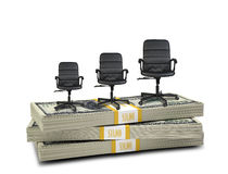 Stack of money with three office chairs on top Stock Photo