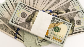 Stack of money in US dollars cash banknotes Royalty Free Stock Image