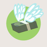 Stack of money with wings flat design  Royalty Free Stock Images
