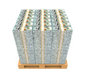 Stack of Money with Wooden Pallet. Isolated on white background. 3D render Stock Photos