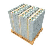 Stack of Money with Wooden Pallet. Isolated on white background. 3D render Royalty Free Stock Photography