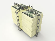 Stack of money wrapped chain Royalty Free Stock Images