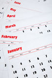 Stack of monthly calendars Royalty Free Stock Photography