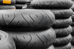 Stack of motorcycle tyres/tires Royalty Free Stock Photo