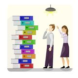A stack of multi-colored cardboard folders next to a pair of workers in despondency. yellow background. From school, office, work royalty free illustration
