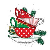 A stack of multi-colored vintage cups with Christmas balls. Vector illustration for a postcard or a poster. New Year. Stock Image