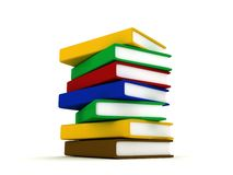 Stack of multicolor books on white background Royalty Free Stock Images