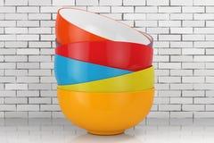 Stack of Multicolor Ceramic Bowls. 3d Rendering. Stack of Multicolor Ceramic Bowls on a wooden table. 3d Rendering stock illustration