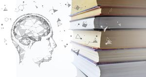 Stack of multicolored books and human man head with brain. Old textbooks stacked on each other. Online education. Technology concept. E-learning training skill royalty free stock photography