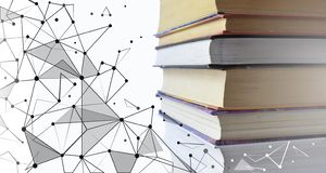 Stack of multicolored books. Old textbooks stacked on each other. Online education technology concept. E-learning. Training skill courses. Geometric polygonal royalty free stock images