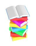 Stack of multicolored books with open book. On white background Stock Images