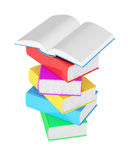 Stack of multicolored books with open book. On white background Royalty Free Stock Image