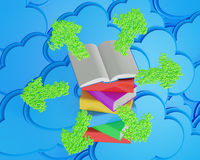 Stack of multicolored books with open book Royalty Free Stock Photos