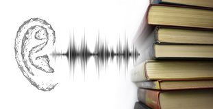 Stack of multicolored books and sound audio wave to human ear. Listen audiobooks online education technology concept. Old textbooks stacked on each other stock illustration