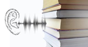 Stack of multicolored books and sound audio wave to human ear. Listen audiobooks online education technology concept. Old textbooks stacked on each other royalty free stock image