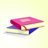 Stack of multicolored books. On yellow background Royalty Free Stock Photography