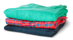 Stack Of Multicolored Casual Clothes Rotated Stock Photography