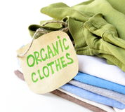 Stack of multicolored clothing  organic label Stock Photography