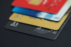 Stack of multicolored credit cards close-up. Stack of multicolored credit cards, close-up Royalty Free Stock Images