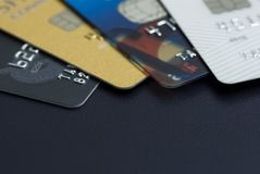 Stack of multicolored credit cards close-up Royalty Free Stock Image