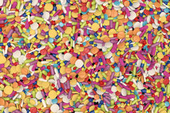 Stack of multicolored drugs and medicinal. High quality rendering of different drugs and medicinal Royalty Free Stock Photo