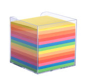Stack of multicolored notes  in a plastic box Royalty Free Stock Photography