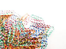 Stack of multicolored paper clips Royalty Free Stock Photo