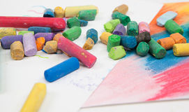 Stack of multicolored pastel chalks on white background Royalty Free Stock Photos