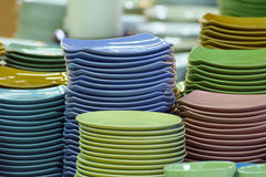 Stack of multicolored plates its was tile Royalty Free Stock Images