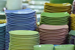 Stack of multicolored plates its was tile Stock Photos