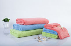 Stack of multicolored towels Stock Photography
