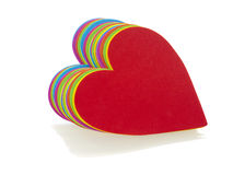 Stack of multicoloured hearts Royalty Free Stock Photography