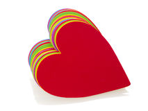Stack of multicoloured hearts Stock Photos