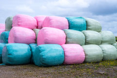 Stack of multicoloured silage bags Stock Photo
