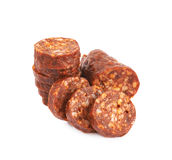 Stack of multiple sausage slices Stock Photography
