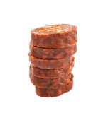 Stack of multiple sausage slices Royalty Free Stock Photo
