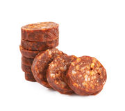 Stack of multiple sausage slices Stock Images