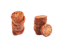 Stack of multiple sausage slices Royalty Free Stock Image