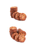 Stack of multiple sausage slices Stock Photo