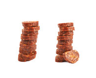 Stack of multiple sausage slices Royalty Free Stock Photos
