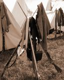 "Stack of Muskets at the Rebel Encampment at the ""Battle of Liberty"" - Bedford, Virginia. Bedford County, Virginia, USA – April 29th: Stack of Muskets at Stock Photos"