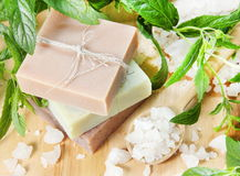 Stack of Natural Herbal Soap Stock Images