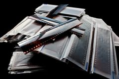 Stack of negatives. Stack of processed negatives of 35mm photography film royalty free stock photography