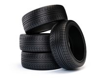 Stack of new car tires. Tires isolated on white background Stock Image