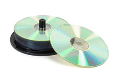 Stack of new CDs on spool Royalty Free Stock Photo