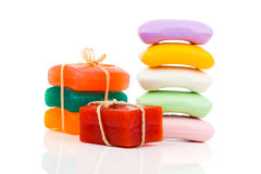Stack of new colorful Soap Bars Royalty Free Stock Photos