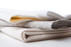 Stack of new fabrics Stock Photo