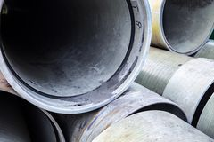 Stack of new industrial pipes Stock Photos