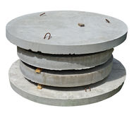 Stack of industrial round concrete  hatches for the sewerage sys Stock Images